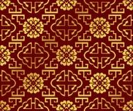 Nahtlose goldene chinesische Hintergrund-Geometrie-Spiralen-Leiter-Blume Stockfoto