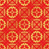 Nahtlose goldene chinesische Hintergrund-Kreuz-Spiralen-rundes Blumen-Kaleidoskop Stockbilder