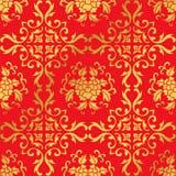 Nahtlose goldene chinesische Hintergrund-Kurven-Weinblatt-Blume Stockfotos