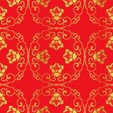 Nahtlose goldene chinesische Hintergrund-Spiralen-Kreuz-Ketten-Blume Stockbild