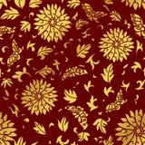 Nahtlose goldene chinesische Hintergrund-Spiralen-rundes Blumen-Schmetterlings-Blatt Stockfotografie