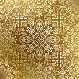 Nahtlose goldene Damasttapete Stockbild