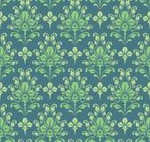Nahtlose grüne barocke Tapete Stockfoto