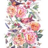 Nahtlose Grenze des Aquarells Vögel und stiegen Stockbilder