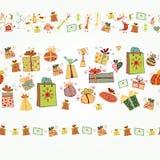 Nahtlose Grenze drei mit Weihnachtsgeschenkboxen Stockbild