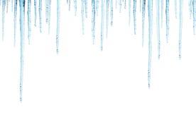 Nahtlose Grenze mit Eiszapfen Stockbild