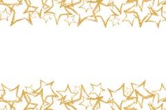 Nahtlose Grenze mit Goldfunkelnstern sequins Goldener Glanz puder funkeln Lizenzfreie Stockfotografie
