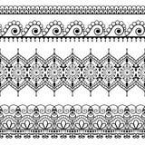 Nahtlose Grenzelemente in indischer mehndi Art für Karte oder Tätowierung Vektorabbildung auf weißem Hintergrund Stockfotografie