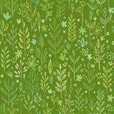 Nahtlose Hände gezeichnetes Frühlingsmuster mit Gras und Lizenzfreies Stockbild