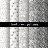 Nahtlose Hand gezeichneter Mustersatz Stockfoto