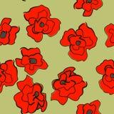 Nahtlose helle Verzierung mit Mohnblumen Stockfotografie