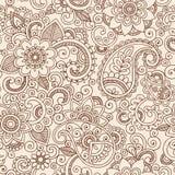 Nahtlose Henna Paisley Flowers Pattern Vector Illu Stockfoto