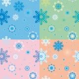 Nahtlose Hintergründe mit Schneeflocken Stockfotos