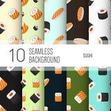 10 nahtlose Hintergründe oder Muster mit Sushi lizenzfreie abbildung