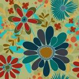 Nahtlose Hintergrund-Blumen und Strudel Lizenzfreie Stockfotos