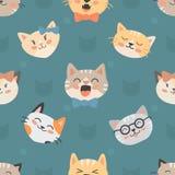 Nahtlose Hippie-Katzenmuster-Vektorillustration Lizenzfreies Stockbild