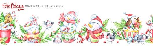 Nahtlose horizontale Girlande des Aquarells Lustiges Snowmens lizenzfreie abbildung