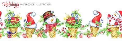 Nahtlose horizontale Girlande des Aquarells Waffelkegel mit snowmans, Sankt-Hüten und Geschenken Lustiger Nachtisch Neues Jahr Cr lizenzfreie abbildung