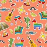 Nahtlose Illustration auf dem Thema der Erholung im Land von Mexiko, bunte Fleckenikonen auf einem orange Hintergrund lizenzfreie abbildung