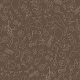 Nahtlose Illustration auf dem Thema der Kindheit, des Spaßes und der Freundschaft, einfache von Hand gezeichnete Ikonen, beige En Stockbilder