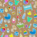 Nahtlose Illustration auf dem Thema der Kindheit und der neugeborenen Babys, Babyzubehör und Spielwaren, einfache Farbaufkleberik Stock Abbildung