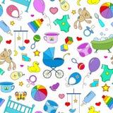 Nahtlose Illustration auf dem Thema der Kindheit und der neugeborenen Babys, des Babyzubehörs, des Zubehörs und der Spielwaren, e Stockbilder