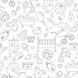 Nahtlose Illustration auf dem Thema der Kindheit und der neugeborenen Babys, des Babyzubehörs und der Spielwaren, einfache Kontur Lizenzfreie Stockfotografie
