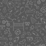 Nahtlose Illustration auf dem Thema der Kindheit und der neugeborenen Babys, des Babyzubehörs und der Spielwaren, einfache Kontur Lizenzfreie Stockbilder
