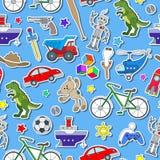Nahtlose Illustration auf dem Thema der Kindheit und der Spielwaren, Spielwaren für Jungen, Aufkleberikonen auf blauem Hintergrun Lizenzfreie Stockfotos