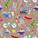Nahtlose Illustration auf dem Thema der Kindheit und der Spielwaren, Spielwaren für Jungen, Aufkleberikonen auf braunem Hintergru Stockfoto