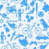 Nahtlose Illustration auf dem Thema der Kindheit und der Spielwaren, Spielwaren für Jungen, Blau silhouettiert Ikonen auf einem b Stockbild