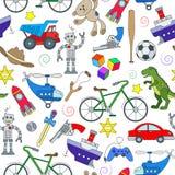 Nahtlose Illustration auf dem Thema der Kindheit und der Spielwaren, Spielwaren für Jungen, Farbikonen auf weißem Hintergrund Lizenzfreie Stockfotografie