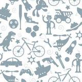 Nahtlose Illustration auf dem Thema der Kindheit und der Spielwaren, Spielwaren für Jungen, Grau silhouettiert Ikonen auf einem w Stockfotos