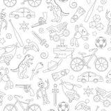Nahtlose Illustration auf dem Thema der Kindheit und der Spielwaren, Spielwaren für Jungen, schwarze Konturnikonen auf weißem Hin Stockbilder