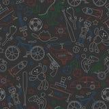 Nahtlose Illustration auf dem Thema der Kindheit und der Spielwaren, Spielwaren für Jungen, umreißt die Ikonen, die mit farbigen  stock abbildung