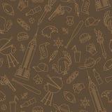Nahtlose Illustration auf dem Thema der Reise im Land von Amerika, einfache Konturnikonen, beige Entwurf auf einem braunen Hinter Stockfotos