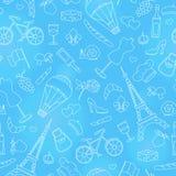Nahtlose Illustration auf dem Thema der Reise im Land von Frankreich, einfache Konturnikonen, heller Entwurf auf einem blauen Hin Stockbilder