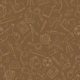 Nahtlose Illustration auf dem Thema des Beginns des neuen Schuljahres in der Highschool, beige Konturnikonen auf braunem Hintergr Lizenzfreie Stockfotos