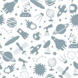 Nahtlose Illustration auf dem Thema des Raumes und der Raumfahrt, Grau silhouettiert Ikonen auf einem weißen Hintergrund Stockfoto