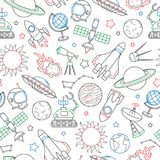 Nahtlose Illustration auf dem Thema des Raumes und des Raumfluges, Ikonen gezeichnet mit farbiger Markierung auf weißem Hintergru Stockfoto