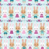 Nahtlose Illustration des Vektors mit Kaninchen Stockbild