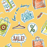 Nahtlose Illustration des Verkaufs- und Einkaufsvektors Lizenzfreies Stockfoto