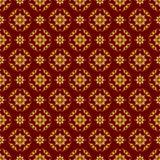Nahtlose Illustration mit Blumenmustern, goldene Muster der Weinlese auf Burgunder-Hintergrund vektor abbildung