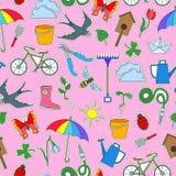 Nahtlose Illustration mit einfachen Ikonen auf einem Thema des Frühlinges, farbige Fleckenikonen auf einem rosa Hintergrund Stockfoto