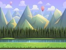 Nahtlose Karikaturgebirgsnaturlandschaft, vector endlosen Hintergrund mit getrennten Schichten vektor abbildung
