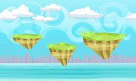 Nahtlose Karikaturphantasielandschaft mit Fliegengrundinseln Stockfotos