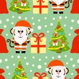 Nahtlose Karte des neuen Jahres mit Affen Santa Claus Lizenzfreies Stockbild