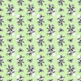 Nahtlose Klee-Blumen u. Bienen-Hintergrund Stockbild