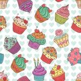 Nahtlose kleine Kuchen Lizenzfreies Stockfoto