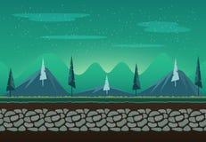 Nahtlose Landschaft für Spielhintergrund Stockbilder